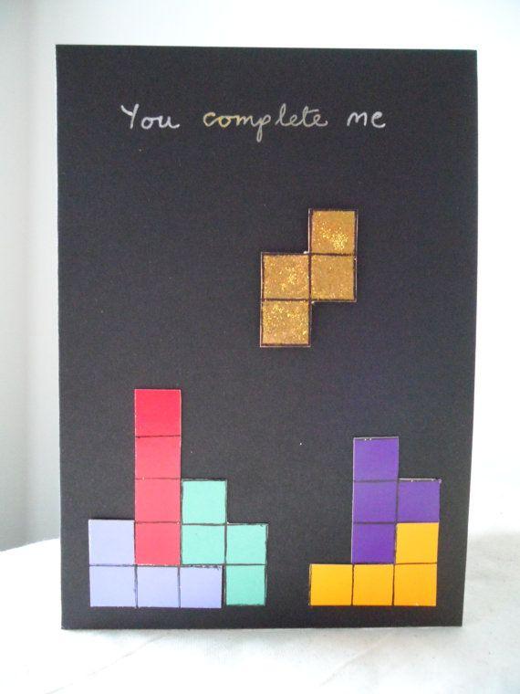 Valentine's Retro gamer greetings card Tetris von VespersCraft