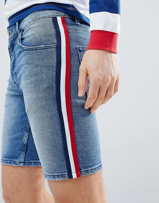 253e0f10 Discover Fashion Online Shop ASOS DESIGN Skinny Denim Shorts In Mid Wash  Blue With White Side