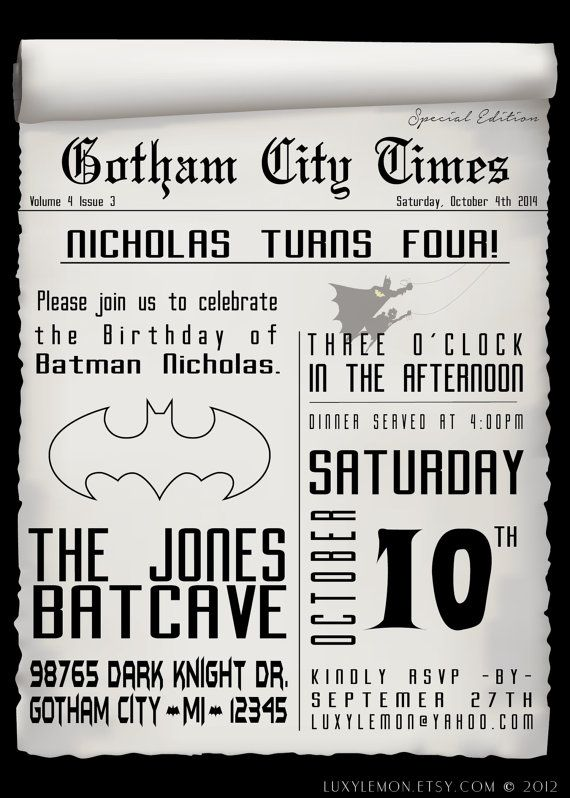 Batman Invitation Batman Invitations Batman Invites by LuxyLemon