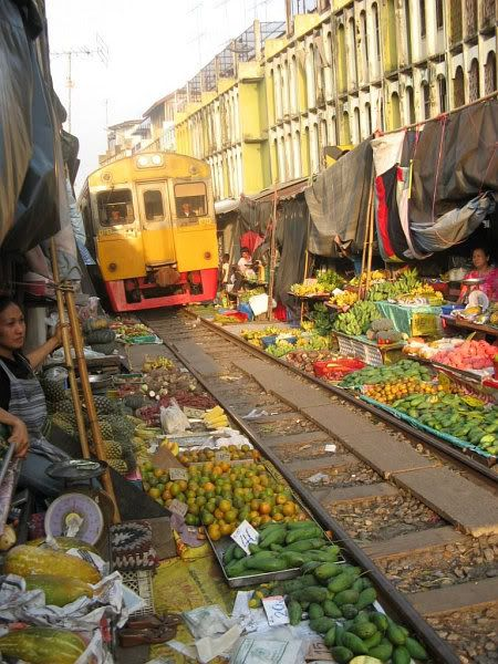 Train Track Market, Thailand
