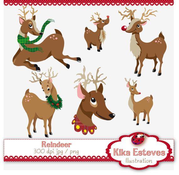 INSTANT DOWNLOAD Christmas Reindeer  Digital by kikaesteves, $4.00