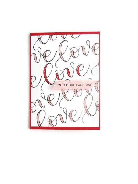 Love you more each day valentines day card handmade just for u love you more each day valentines day card handmade just for u notes handmade greeting cards and other stuff pinterest husband wife poly bags and m4hsunfo