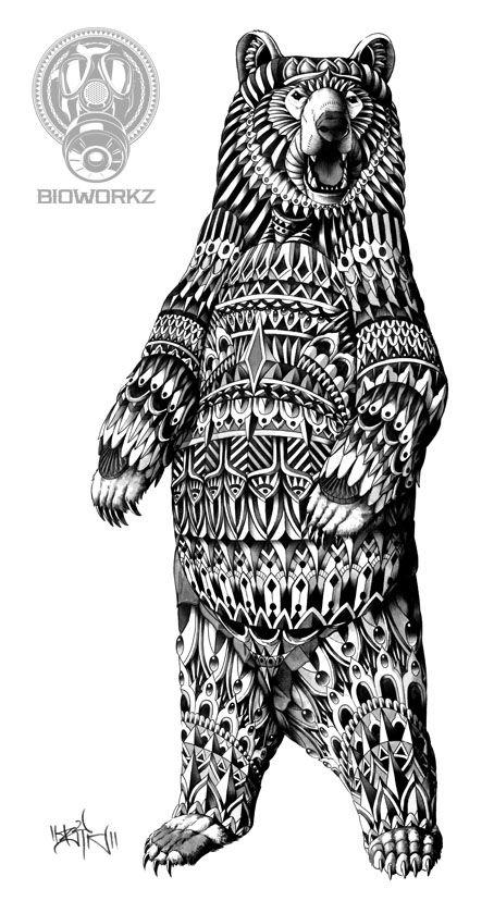 Ornately Grizzly Bear by BioWorkZ.deviantart.com on @deviantART