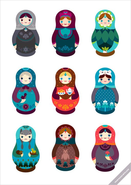 Matryoshkas by Dopludo Collective. Bottom left, wolf girl, amazing. #russian #russiandoll