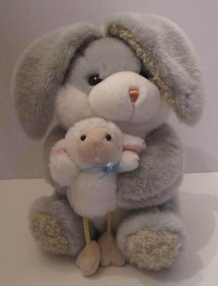 "Plush Easter Rabbit Holding Baby Lamb Dangle Legs 11"" Walmart Toy Stuffed #Walmart"