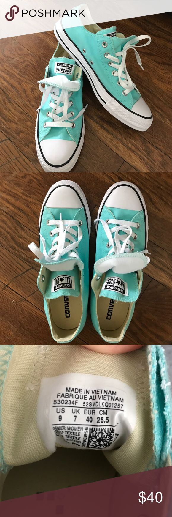 Turquoise Converse All-Star size 9 These turquoise converse are brand new, never worn, size 9. They have a double tongue and are perfect for spring! $40 obo. Converse Shoes Sneakers