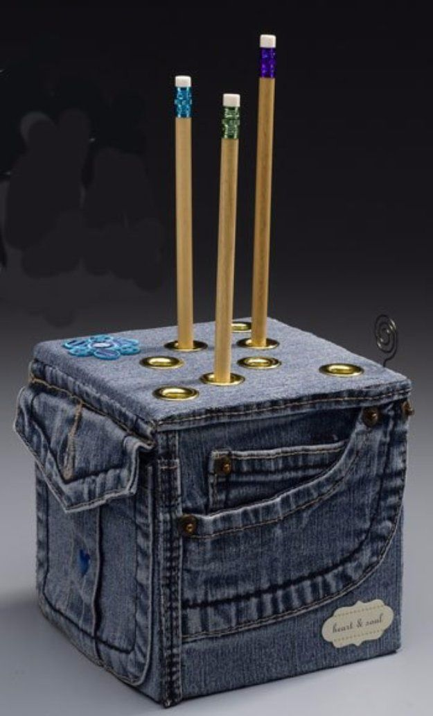 DIY Crafts with Old Denim Jeans - DIY Denim Pencil Cube - Cool Projects and…