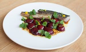 Nuno Mendes' grilled cured mackerel with cherries and sherry dressing.