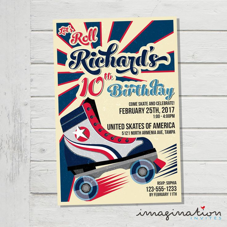 40 best birthday invites images on pinterest invites card stock roller skating invitation roller skate birthday party invite usa america colors jpeg digital file customized stopboris Image collections