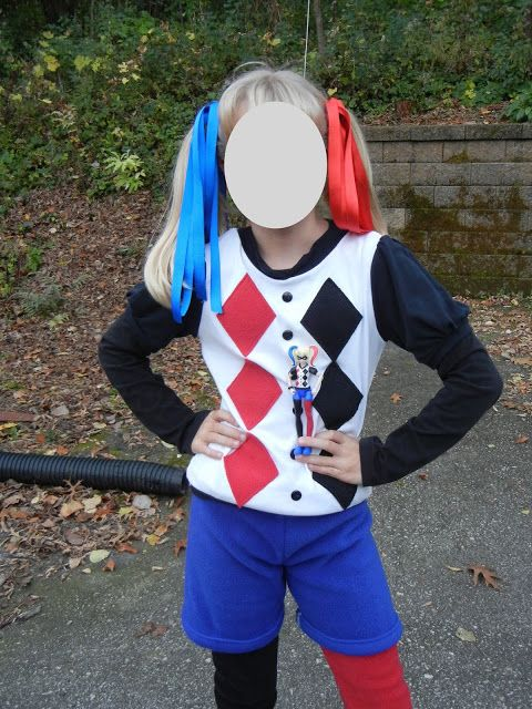 DIY sewing kid appropriate DC Comics SuperHero High Harley Quinn Halloween costume from A Willing Worker...
