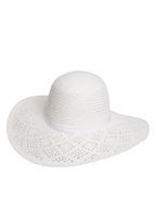 Womens White Lead Floppy Hat- White