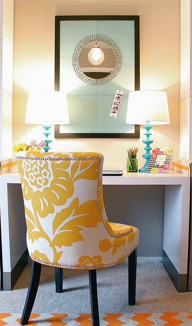 Designer in Teal- TEAL & YELLOW!! this corkboard is so cool and different and who wouldn't love that chair!!