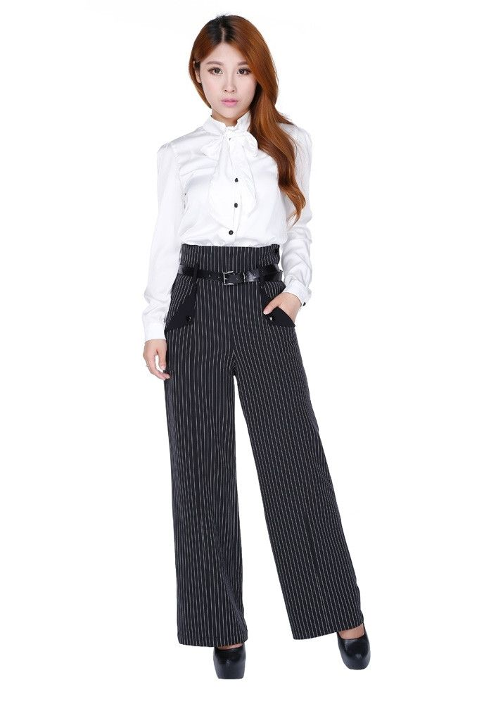 50's Vintage Style High-Waisted side Buttons Pinstriped Wide Leg Pants