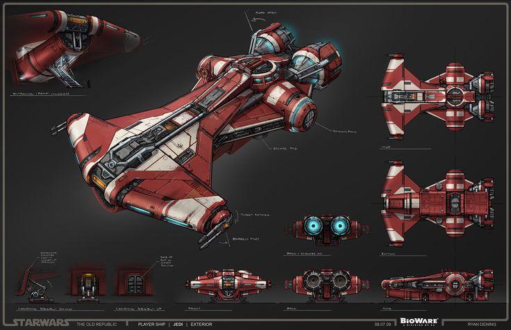 SWTOR Concept Art - Jedi Ship, Defender-class Light Corvette // by Ryan Dening