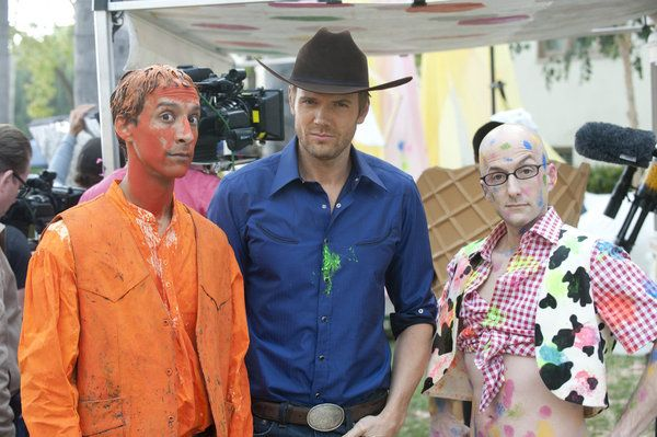 "Danny Pudi, Joel McHale and Jim Rash on Community from the episode ""For a Few Mo..."