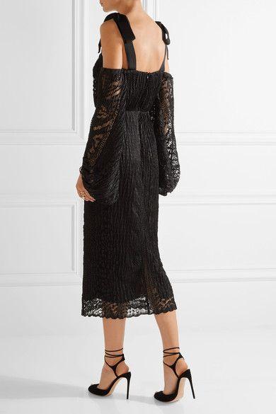 Rebecca Vallance - Pulitzer Cutout Plissé-lace Dress - Black - UK12