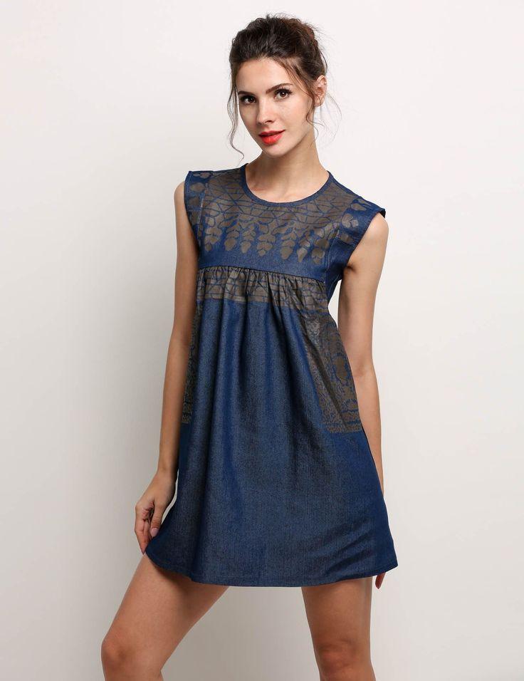 Women Fashion Casual Print Sleeveless Summer Denim Mini Dress