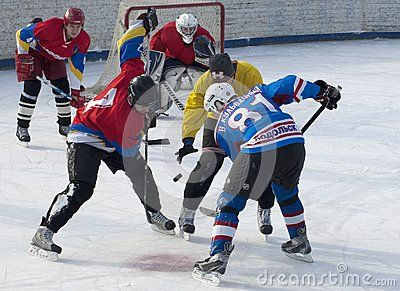 PODOLSK - FEBRUARY 17 : Unidentified players on faceoff on game Desna-Desna-2 in Tournament of Podolsk region on February 17, 2013 in Podolsk, Russia