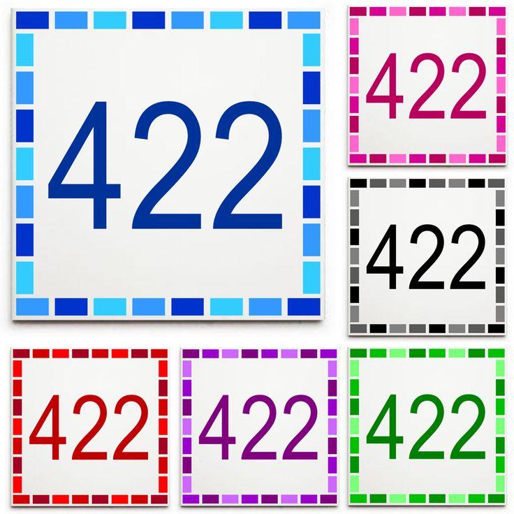 Custom House Number Sign/Plaque - Ceramic Tile Print: Dash Border