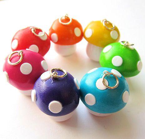 Polymer Clay Mushroom Toadstool Charm You Pick the