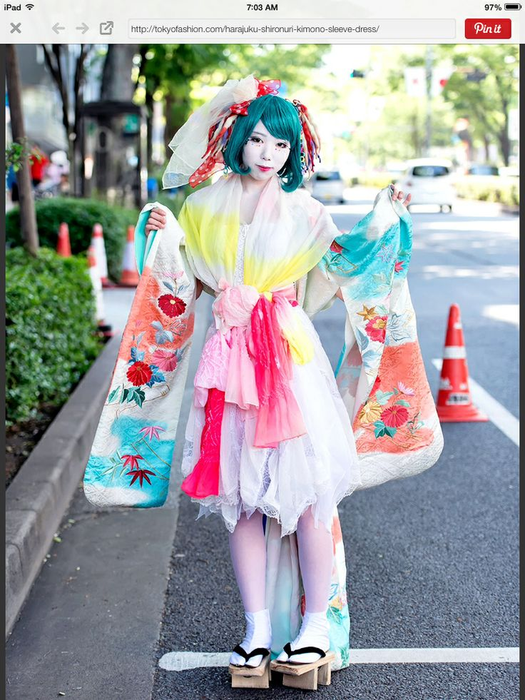 Harajuku street shironuri kimono fashion