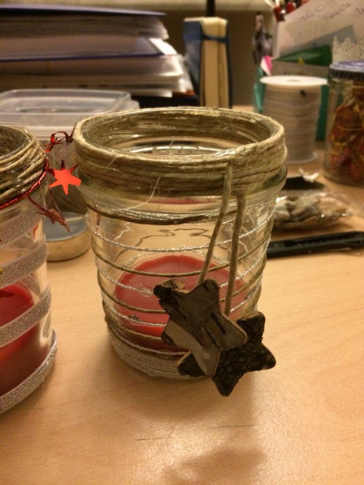 Riciclo creativo di barattoli di vetro! #barattoli #vetro #riciclo #natale #candele #portacandele #masonjars #candles #christmas