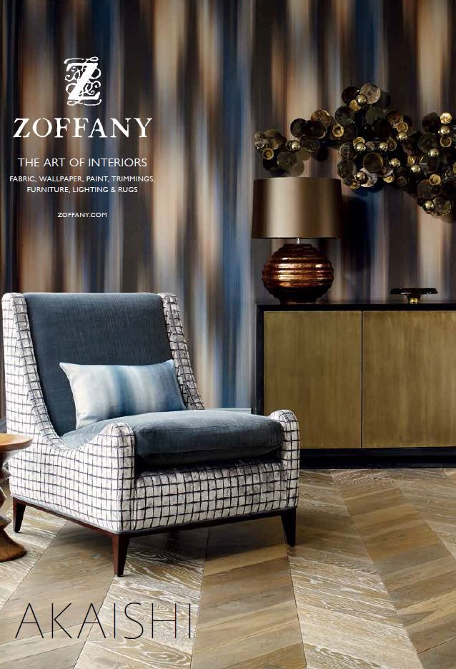 Zoffany Akaishi Wallcoverings 2016 - The collection comprises a mix of conventional wallpapers and paper backed fabrics. Textural patterns are woven as jacquards, paper-backed, and in some cases, digitally printed – a stunning synthesis of innovation and time honoured skills. This layering of substrates and techniques creates fabulously atmospheric wallcoverings which add a sophisticated zen-like ambiance to the interior spaces they adorn.