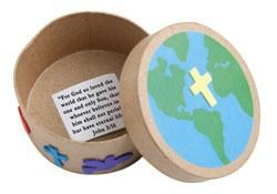 "John 3:16 Boxes (471-810) from Guildcraft Arts & Crafts! A keepsake craft about God's gift to the world. Includes round papier mache boxes, adhesive foam shapes, preprinted cardboard Earths, paper Bible verses and glue stick. 2"" x 4""."