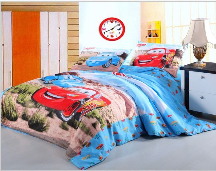 Twin Size Bedding For Little Boys | Red Blue Car Cotton Bedding Set Duvets  Twin Full