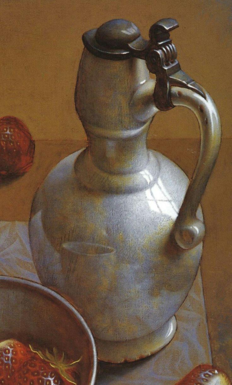 Henri Bol, Still life with strawberries, 1999 (detail) Vermeer white Delftware jug