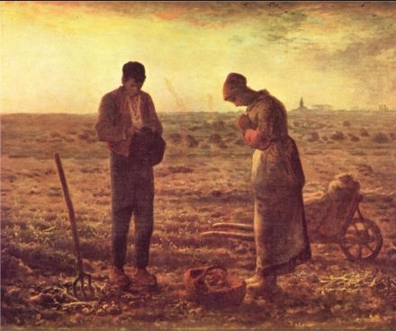 Jean-François Millet : The Angelus, 1857-9 ..   Jean-François Millet was a French painter and one of the founders of the Barbizon school in rural France. Millet is noted for his scenes of peasant farmers; he can be categorized as part of the movements of Realism and Naturalism