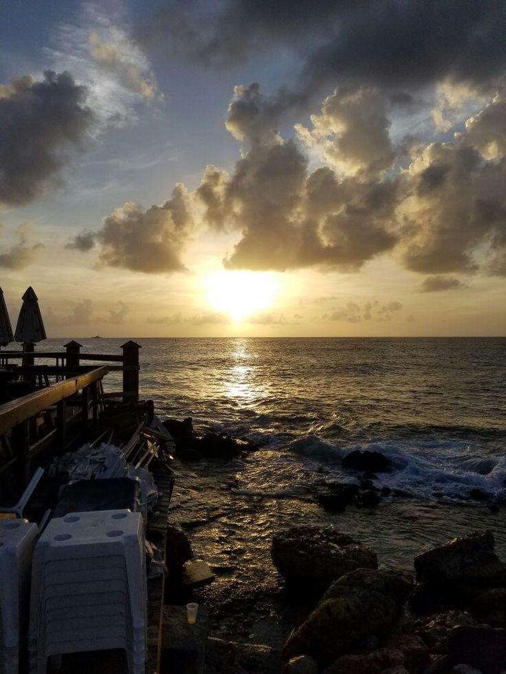 Sunset at Sunset Bar and Grill. Maho Beach, Sint Maarten Netherland Antilles