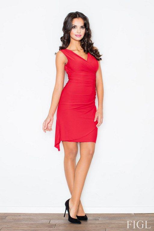 Seksowna czerwona sukienka z kopertowym dekoltem