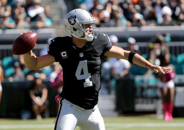Raiders vs. Jaguars:     October 23, 2016  -  33-16, Raiders  -   Derek Carr #4 of the Oakland Raiders gets set to pass against the Jacksonville Jaguars during the game at EverBank Field on October 23, 2016 in Jacksonville, Florida.  (Photo by Sam Greenwood/Getty Images)