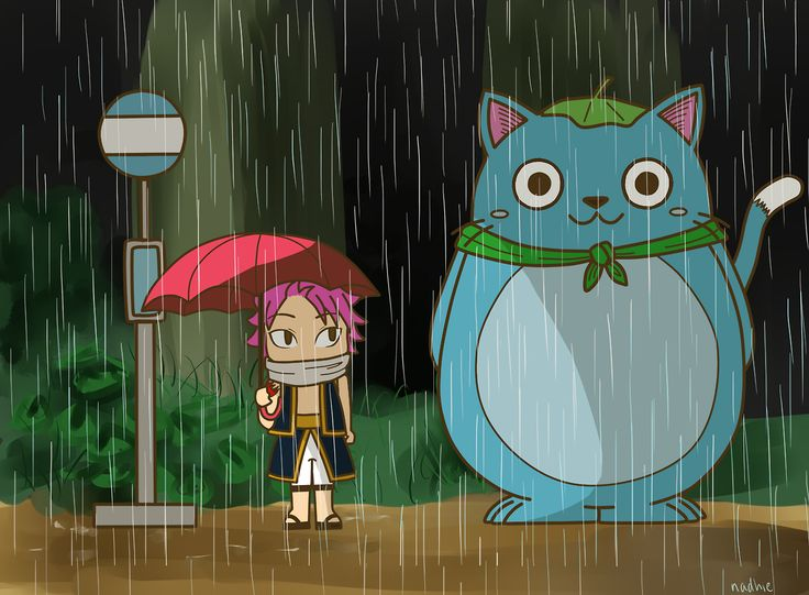 Natsu and Happy from Fairytale doing their best My Neighbor Totoro impression.