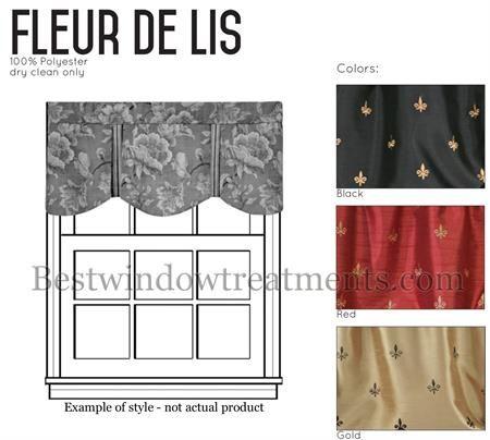 Custom Fleur De Lis Royal Valance Window Topper In Red, Black, Gold Color :