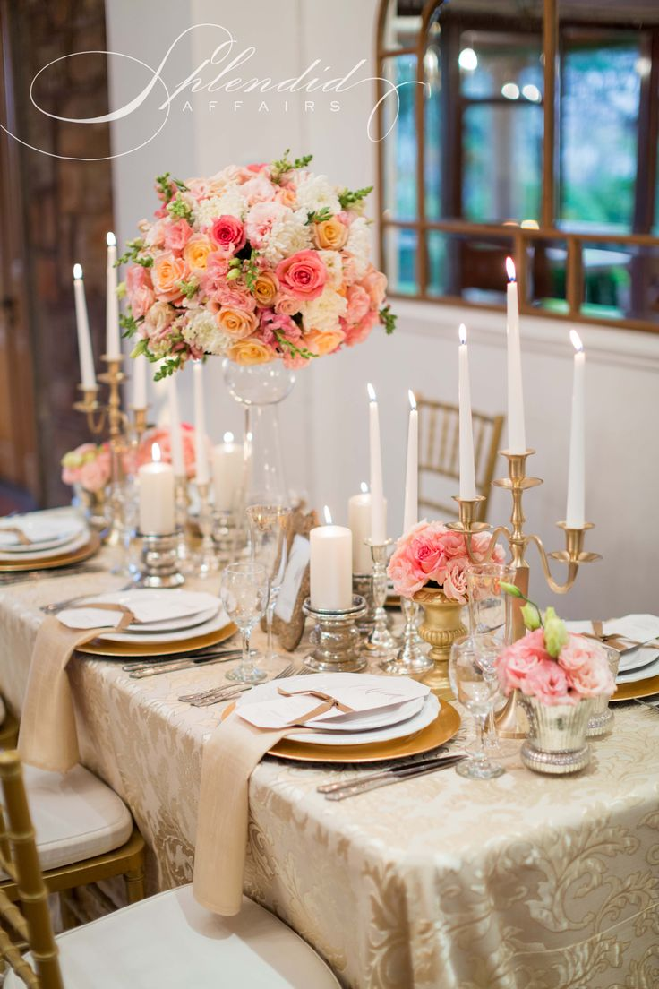 Elegant coral and gold wedding reception inspirations. Flowers, decor and styling by Splendid Affairs Photography by Rensche Mari Photography Stationery by Chrystalace Stationery