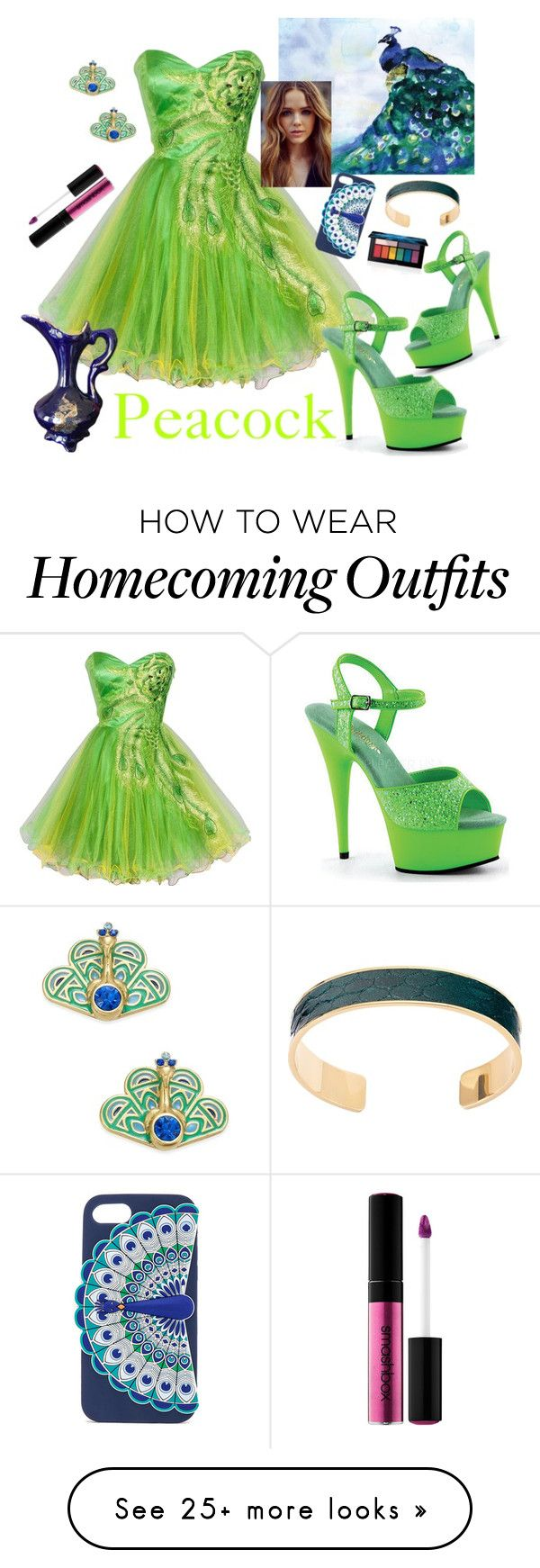 """Green Peacock"" by bitty-junkkitty on Polyvore featuring Kate Spade, Aspinal of London, Pleaser and Smashbox"
