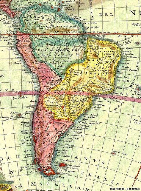 Mapa antiguo de América del Sur; mapa antigo da América do Sul; old map of South America.