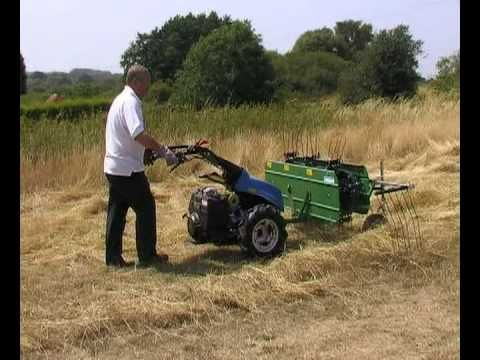 The Hay Rake attachment has sprung loaded steel tines which comb the ground and very effectively sweep cut grass into rows leaving it suitable for pitch forking into a trailer. The front wheels are adjustable to alter the raking height and the end stop rake is adjustable for width, which alters the width of the row.