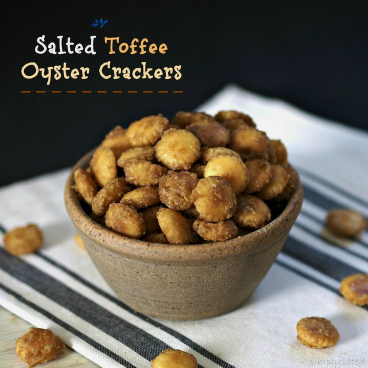 Salted Toffee Oyster Crackers are a sweet, salty, crunchy snack. Best you can't eat just one. A layer of oyster crackers covered with toffee sauce & baked.