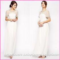 아소스 래티스 임벨리시드 플루터 슬리브 맥시 드레스 크림 ASOS Lattice Embellished Flutter Sleeve Maxi Dress Cream
