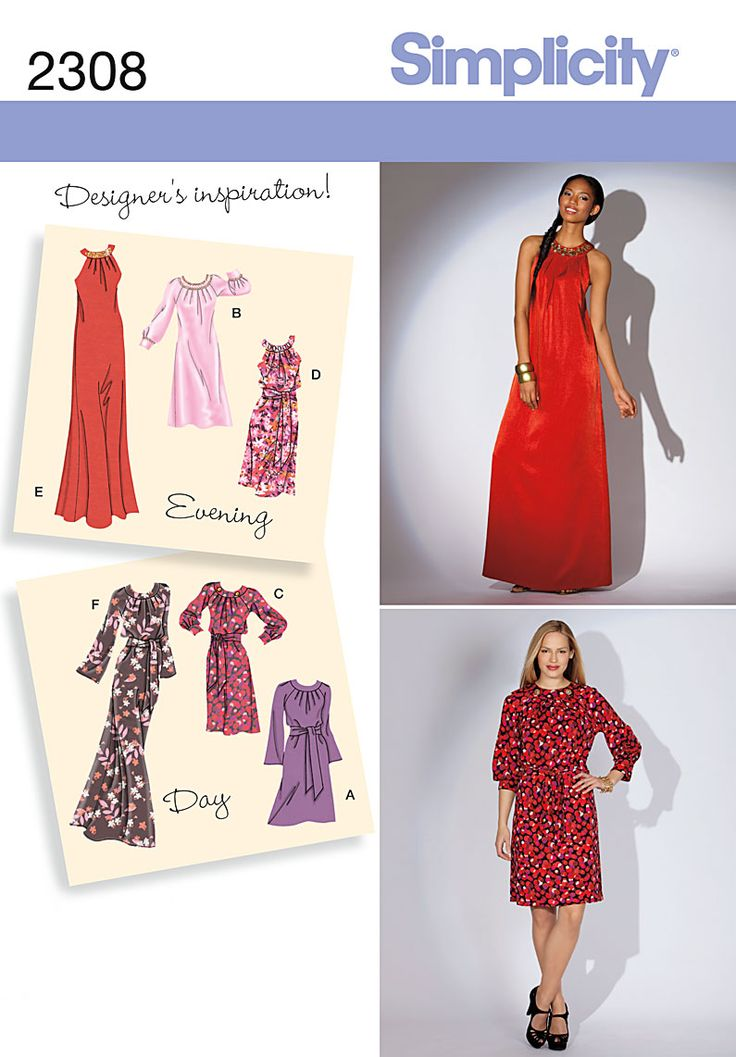 Day or evening Dress Sewing Pattern 2308 Simplicity:
