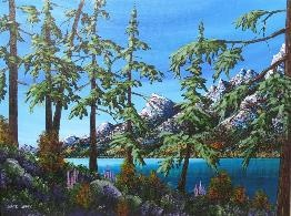Mark Sharp Canadian Artist  Mountain Shore Original (MSHORG012)