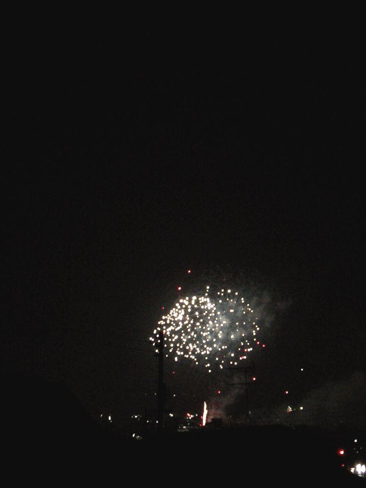 夏の夜の、町の打ち上げ花火大会の様子をアニメGIF画像作成①