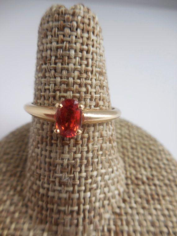 Zaffiro arancio 14k giallo oro anello Gioielli zaffiro di Gomis