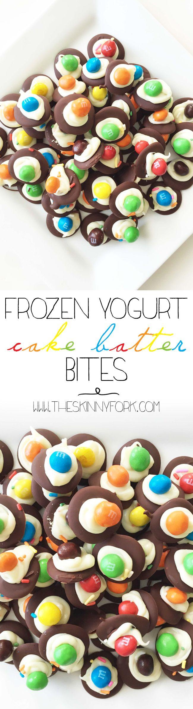 Frozen Yogurt Cake Batter Bites - De{light}ful little bites of crispy chocolate rainbow heaven! #CrispyComeback #Ad