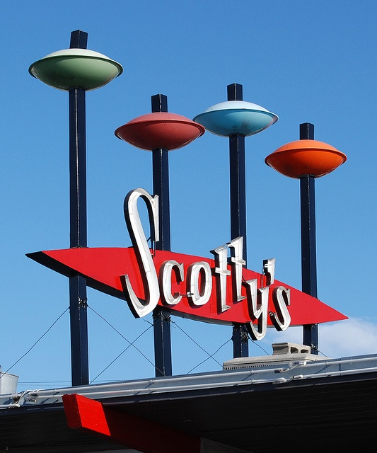 Atomic Age/Space Age influence -- Scotty's Hamburgers sign in Idaho Falls, Idaho