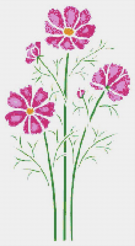 Pink Wildflowers Cross Stitch Pattern Flower Floral Wall Art    PDF PATTERN ONLY         Fabric: 14 count Aida   Counted Cross Stitch   Stitches: