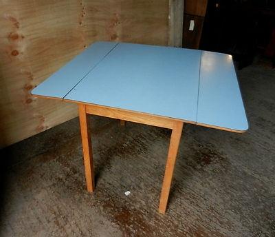 Retro Formica Drop Leaf Table   Blue   Vintage | EBay